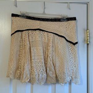 Free People cream colored lace mini skirt